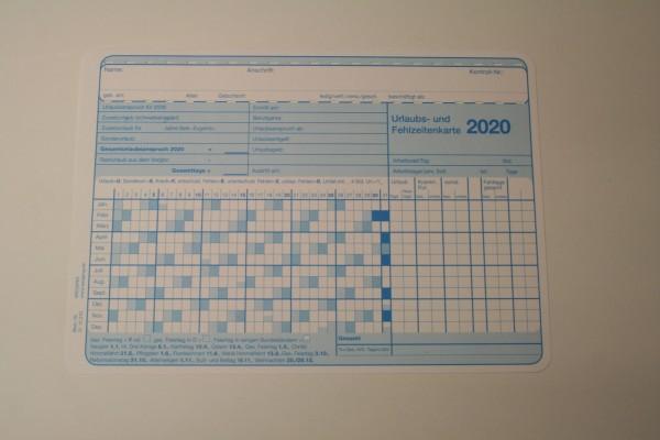 Urlaubs- und Fehlzeitenkarte DIN A5