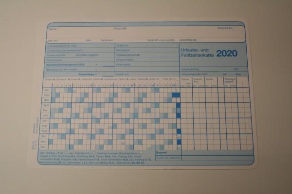 Urlaubs- und Fehlzeitenkarte DIN A4