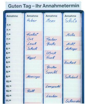 Annahme- und Zeiteinteilungskarten für Annahmetafel
